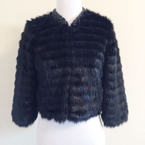 Twelfth Street Cynthia Vincent Faux Fur Crop 3/4